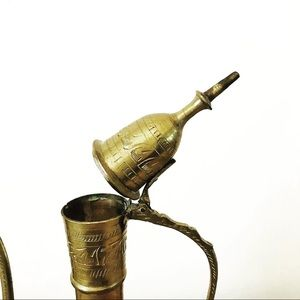 Vintage Accents - Vintage etched brass teapot or pitcher